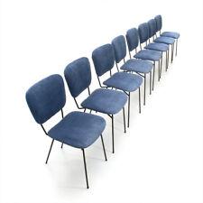 Otto sedie in tondino di ferro e velluto blu Doro Cuneo anni '60, mid century