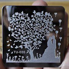 Nail Art Template Image Stamping Plates DIY Bride Groom Wedding Heart Tree TU35