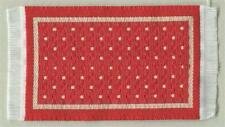 Teppich ,rot-weiß-gepunktet,16,5x10,5 cm,Miniatur 1:12 f. Puppenstube #10112/08#