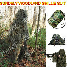 UK 5Pcs Ghillie Suit Hunting Archery Sniper Wrap Bag Paintball Camo Adult Gilly