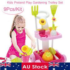 AU 9PCS Kid Gardening Trolley Toddler Tools Game Pretend Play Toy Garden Plant
