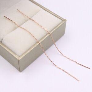 Solid Fine 18K Rose Gold Earrings Women Luck O-Chain Dangle Earrings 75mmL 0.5g