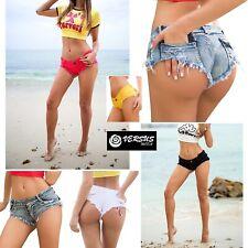Mini Pantaloncini Jeans Donna Tipo Costume Brasiliano Coachella Shorts JEA024