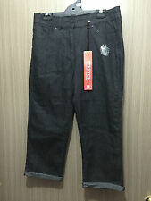 BNWT Ladies Sz 10 Rivers Brand Stretch Black Denim Crop Style Pants Jeans