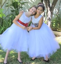 Lace Embroidery White Flower Girl Dresses Toddler Birthday Recital Princess 118T