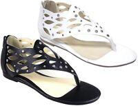 Ladies Ankle Strap Summer Sandals Women Diamante Flats Comfy Wide Fit Shoes Size