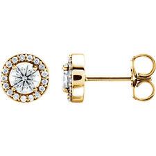 Charles & COLVARD MOISSANITE & .08 cts diamant Earrings in 14k Or Jaune