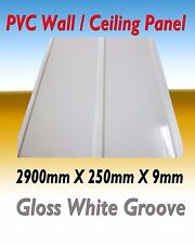 10 PIECES (PACK) PVC CEILING / WALL PANEL  GLOSS WHITE GROOVE  DESIGN 2900MM