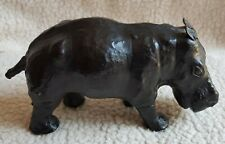 More details for vintage mid century modern leather wrapped glass eye hippopotamus