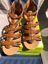 Siketu Womens Brown Strappy Wedge Sandal