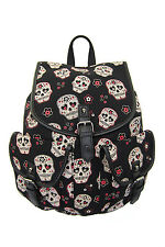 Banned Sugar Skull Backpack School Bag A4 Tatoo Goth Punk Biker Black Waterproof