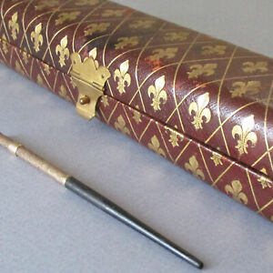 Antique LEATHER Pen Case GILT Embossed FLEURS-DE-LYS + Edward Todd GOLD Dip Pen