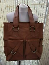 Tan faux leather tote bag.