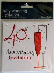 40th Anniversary Celebration Invitation Cards With Envelopes - Simon Elvin Brand