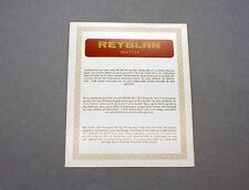 New old stock rare REYBLAN Blank guarantee warranty garantie card watch vintage