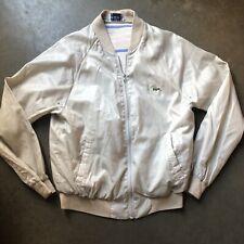 Men's Vintage 80's Izod Lacoste Lined Beige Windbreaker Light Zip Up Jacket Sz M