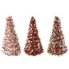 Tinsel Christmas Tree Tabletop Decorations, Rose Gold, 10-Inch, 3-Piece