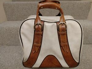Vintage Adjustable Handle Zippered Bowling Bag Pleather Vinyl Brown Cream