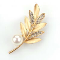 Vintage $999 Leaf Brooch Pin with White Pearls & Diamond in 18k Yellow Gold Over
