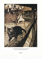 'RAPUNZEL.'& 'THE CAT...Rackham's VINTAGE FAIRY TALE. D/Sided PRINT.Plts 27 & 28