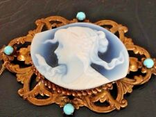 Antique Victorian Cameo Blue Jasperware Vintage Pin with Persian Turquoise Beads