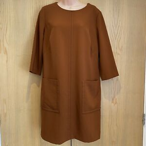 M&S Collection Dress Size 14 Cinnamon Brown 3/4 Sleeved Pockets Knee Length