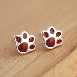 Ear Studs Earrings Dog Paw Dog Paw Tierpfote Red Sterling Silver 925