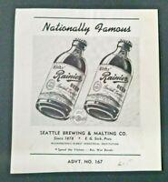 "1944 WW2 RAINIER BEER ""Nationally Famous ~ SPEED THE VICTORY BUY WAR BONDS  #60"