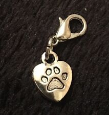 Dog Paw Bracelet Charm Clip Purse Zip Doggy Puppy Love Heart My Lover Pet Print