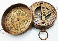 Nautical Sundial Brass Compass World Timer Calendar Compass Marine Pocket Compss