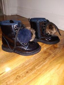 Infant Girls Size 7 Next Blue Navy Pom Pom Boots