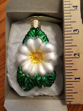 Rose Ornament Glass Christmas Rose White Old World Christmas 36088W 23