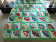 "Vintage Hand Quilted Machine Pieced Cotton & Lace CHINESE FAN Quilt, 87"" x 78"""