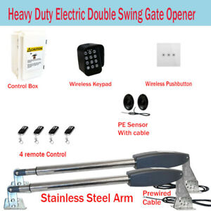 Electric Double Swing Farm Gate Opener Automatic Motor Remote Control Keypad