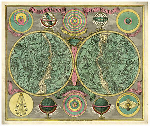 Celestial Map Ptolemy Copernicus Brahe Zodiac illustrated map Lotter ca. 1772