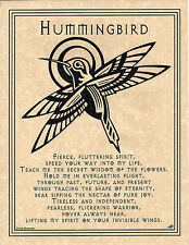 HUMMINGBIRD PRAYER Shaman Animal Spirit Poster Page Art NAT AM. Celtic Wicca