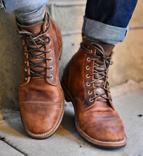 Retro Men's Leather Martin Boots Combat Lace Up Military Army Biker Ankle Shoes