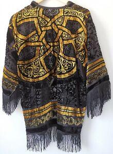 Ladies kimono kaftan velvet devore jacket fringed celtic vintage look one size