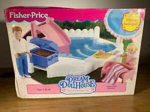 FISHER PRICE Loving Family Dream Dollhouse Pool & Barbeque Flip BBQ Set Vintage