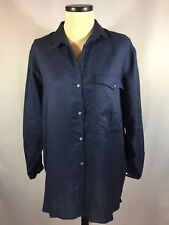 TotonKo Womens Button Down Linen Shirt Med Blue Front Large Pocket Toto n Ko