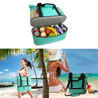 Large Picnic Basket Thermal Insulated Storage Bag Cooler Lunch Food Camping Tote