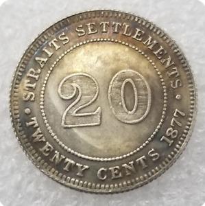 CA 1877 VICTORIA QUEEN SETTLEMENTS STRAITS TWENTY CENTS COMMEMORATIVE COIN