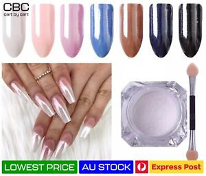 White Pearl Duo Chrome Nail Art Mirror Diamond Powder Glitter Dust HIGH Pigment