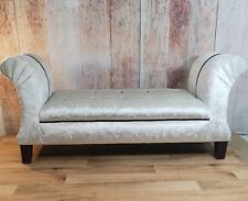 Window Seat Bedroom Chaise Cream Velvet with Black button detail Fast Delivery
