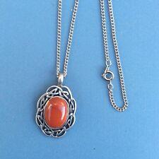 Red Jasper brooch pin. Irish Scottish Welsh Celtic Design Jewelry. Gemstone