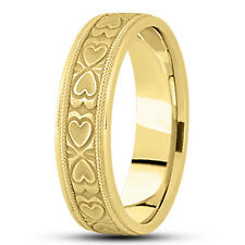 Wedding Band Ring 6.5mm Wide Size 7 New Ladies 14k Yellow Gold Heart Design