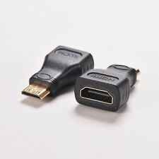 2Pcs For HDTV Mini HDMI Type C Male to HDMI Type A Female Adapter Connectors