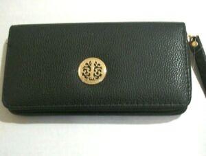 Women's Black Faux Leather Zip Around Fashion Wallet With Wristlet