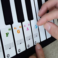 Piano Keyboard Note Stickers for 49/61/76/88 Keys Removable White SA