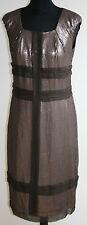 AUTH. ROBERT RODRIQUEZ Brown Sequins 100% Silk Shift Dress US4/UK10 Cap-Sleeves